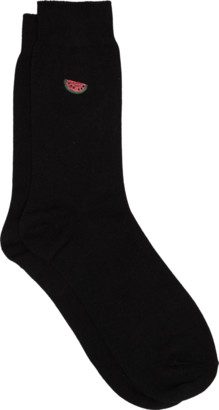 yd. BLACK EMBROIDERED WATERMELON SOCK