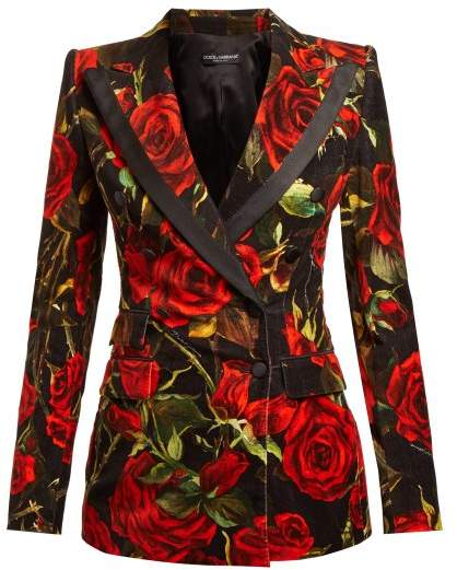 Velvet Rose Print Blazer - Womens - Black Multi
