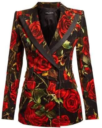 Dolce & Gabbana Velvet Rose Print Blazer - Womens - Black Multi