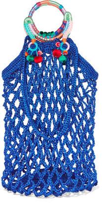 Nannacay - Fishnet Pompom-embellished Macramé Tote - Blue