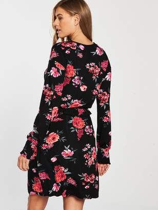 Very Ruched Cuff Jersey Dress - Floral Print