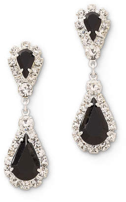 clear VIESTE ROSA Vieste Black and Rhinestone Teardrop Earrings