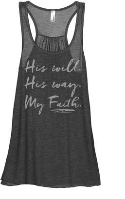 Thread Tank His Will His Way My Faith Women's Fashion Sleeveless Flowy Racerback Tank Top Grey 2X-Large