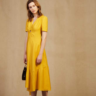 Sandro Midi Dress With Ring Detail