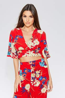 75cc793009fd4 Quiz Red Floral Print Flute Sleeve Top