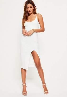 Missguided White Strappy Scoop Neck Midi Dress