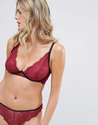 Wolfwhistle Wolf & Whistle lace brief in burgundy