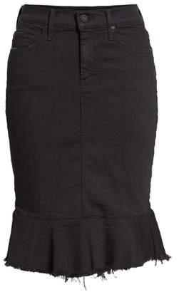 Mother The Cha Cha Fray Ruffle Hem Denim Skirt