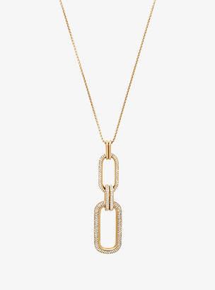 Michael Kors Pave Gold-Tone Link Pendant Necklace