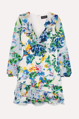 Saloni Jodie Floral-print Devoré Chiffon Mini Dress - White