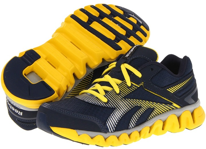 Reebok ZigLite Electrify (Little Kid) (Athletic Navy/Black/Blaze Yellow/Silver) - Footwear