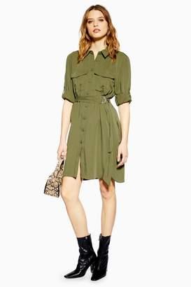 12ee8228ac2 Topshop Womens Tall Utility Mini Shirt Dress - Khaki