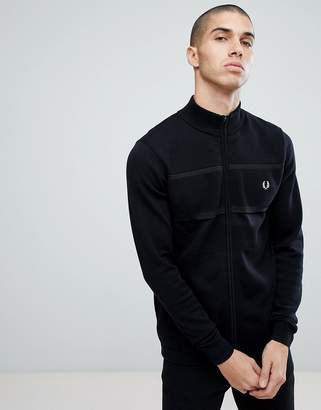 Fred Perry Textured Zip Through Cardigan In Black