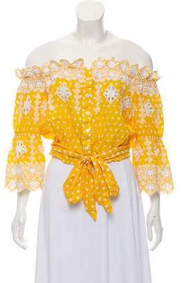 Miguelina Embroidered Polka Dot Top