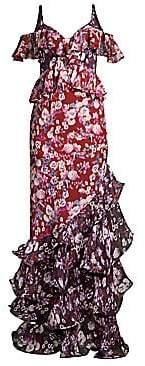 AMUR AMUR Women's Moira Floral-Print Cold-Shoulder Silk Gown