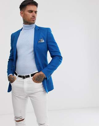 Asos Design DESIGN super skinny blazer in royal blue linen