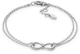 Fossil Infinity Knot Double-Chain Steel Bracelet