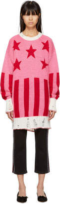 MSGM Pink Long Stars and Stripes Sweater