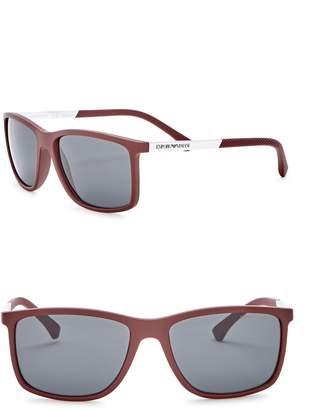 Emporio Armani 58mm Rectangle Acetate Frame Sunglasses