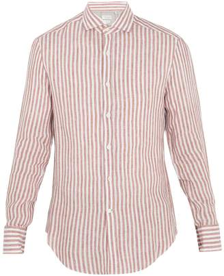 Brunello Cucinelli Striped spread-collar linen shirt
