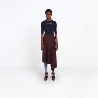 Balenciaga Fine stretch wool check midi skirt
