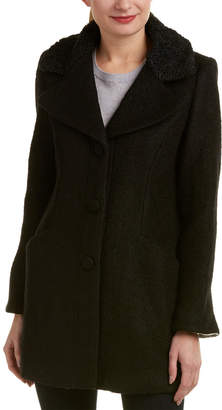 Laundry by Shelli Segal Contrast Collar Wool-Blend Coat