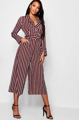 boohoo Pyjama Style Striped Culotte Jumpsuit