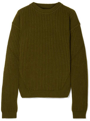 Rick Owens Ribbed Wool Sweater - Army green