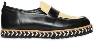 Lightweight Rafia & Leather Loafers