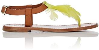 Valentino WOMEN'S FEATHER-EMBELLISHED LEATHER SANDALS