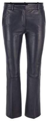 Regular-fit cropped pants in nappa leather