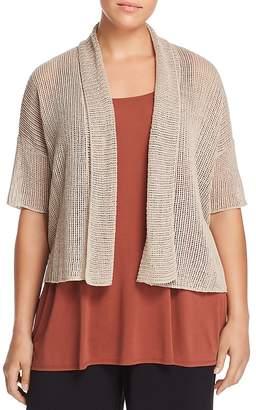 Eileen Fisher Plus Organic Linen Cropped Cardigan