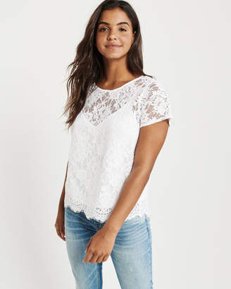 Abercrombie & Fitch Short-Sleeve Lace Tee