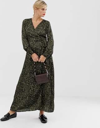 Liquorish midi wrap dress in leopard print