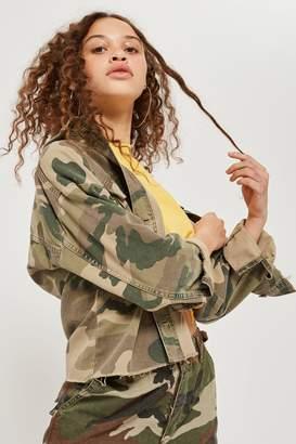 Topshop Camouflage Print Raw Hem Shacket
