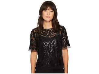 Karen Kane Sequin Lace Mesh Top Women's Clothing
