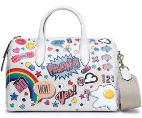 Anya Hindmarch All Over Wink Stickers Embossed Printed Leather Shoulder Bag
