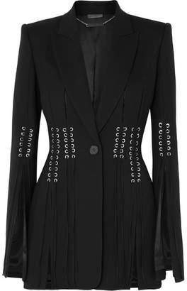 Alexander McQueen Lace-up Grain De Poudre Blazer - Black