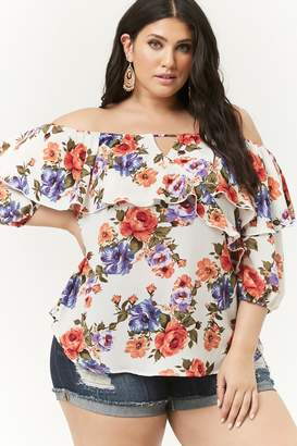 539ece45925b9 Forever 21 Plus Size Floral Flounce Off-the-Shoulder Top