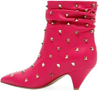 Valentino Slouchy Leather Scrunch Stud Bootie