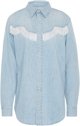 Ganni Bleached Wash Denim Fringe Shirt