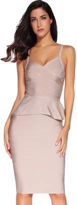 Meilun Women Rayon Celebrity Strap Peplum Midi Bandage Skirt Set Dress Party Dress Bodycon