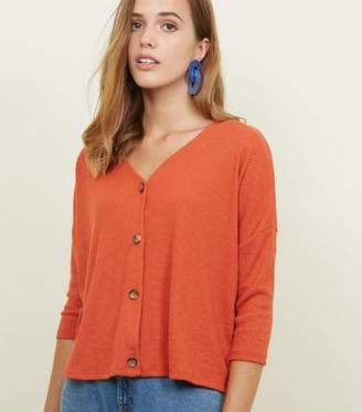 New Look Orange Ribbed Button Front 3/4 Sleeve Top