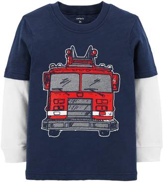 Carter's Baby Boy Fire Truck Mock Layer Graphic Tee