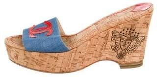 Chanel CC Platform Wedge Sandals
