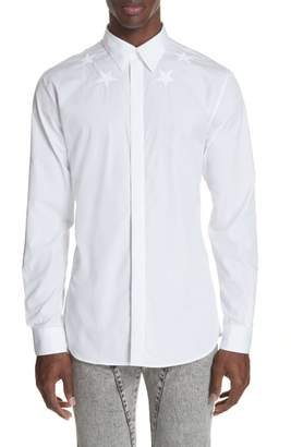 Givenchy Embroidered Star Woven Sport Shirt