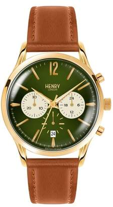 Henry London Chiswick Chronograph Leather Strap Watch, 41mm