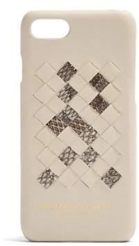 Bottega Veneta Intrecciato Leather Iphone 7 Case - Womens - Cream Multi