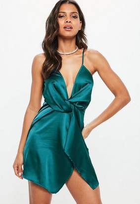 Missguided Teal Satin Strappy Wrap Shift Dress