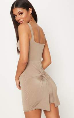 PrettyLittleThing Taupe Slinky Cut Out Ruched Back Bodycon Dress